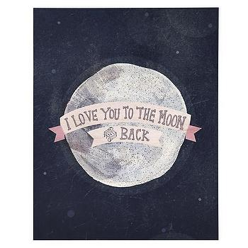 Art/Wall Decor - I Love You to the Moon and Back Poster Decal | The Land of Nod - love you to the moon wall art, love you to the moon kids art, love you to the moon wall decor, love you to the moon poster decal,
