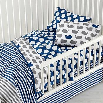 Bedding - Make a Splash Toddler Bedding | The Land of Nod - whale print toddler bedding, whale patterned toddler bedding, navy and gray toddler bedding, navy and gray toddler sheets,