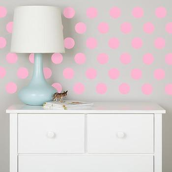 Art/Wall Decor - Lottie Dots Polka Dot Wall Decals (Pink) | The Land of Nod - pink polka dot decal, pink polka dot wall art, pink stick on wall dots,