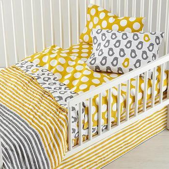 Bedding - Not a Peep Toddler Bedding | The Land of Nod - modern gray and yellow toddler bedding, gray and yellow toddler bedding, gray and yellow chick bedding, gray and yellow chick toddler sheets,