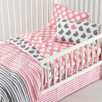 Bedding - Grey Pink Toddler Bedding | The Land of Nod - pink and gray toddler bedding, pink and gray bunny print bedding, pink and gray bunny patterned toddler sheets, bunny print toddler bedding, bunny patterned toddler bedding,