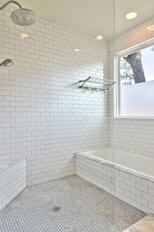 Subway Tiled Shower Transitional Bathroom Avenue B