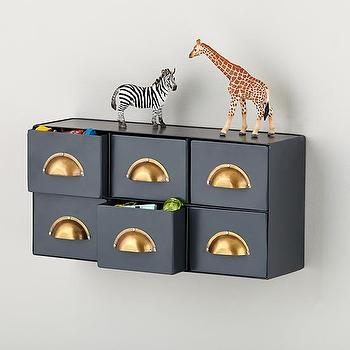 Art/Wall Decor - Little Study Drawers | The Land of Nod - wall storage, kids wall drawers, gray wall mount storage drawers, wall mounted drawers,
