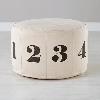 Decor/Accessories - Numbers Pouf (Natural) | The Land of Nod - numbered pouf, numbered canvas pouf, kids numbered pouf, numbered kids ottoman,