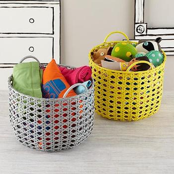 Decor/Accessories - Lattice Floor Bin | The Land of Nod - gray woven storage bin, yellow woven storage bin, gray woven storage basket, yellow woven storage basket,