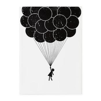 Art/Wall Decor - Print Noir Canvas Wall Art (Balloon) | The Land of Nod - black and white kids art, black and white balloon wall art, black and white kids wall decor,