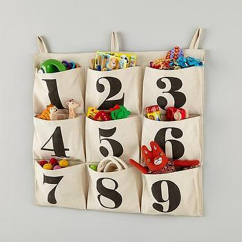 Art/Wall Decor - Touch Tone Wall Hanger | The Land of Nod - numbered storage wall hanger, numbered storage wall pockets, wall pocket storage, numbered kids storage,