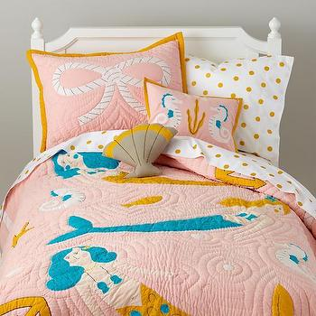 Bedding - Mermaid Quilt | The Land of Nod - mermaid kids bedding, pink mermaid kids bedding, under the sea kids bedding, pink blue and yellow kids bedding, mermaid kids quilt,