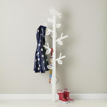 Decor/Accessories - Kids White Bird Clothes Tree | The Land of Nod - kids clothes tree, bird and branch clothes tree, kids branch coat tree,