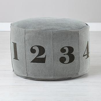 Seating - Numbers Pouf (Grey) | The Land of Nod - gray numbered pouf, gray numbered kids pouf, numbered floor pouf,