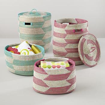 Decor/Accessories - Snake Charmer Storage Baskets | The Land of Nod - geometric pink storage basket, geometric blue storage basket, aqua herringbone storage basket, pink herringbone storage basket,
