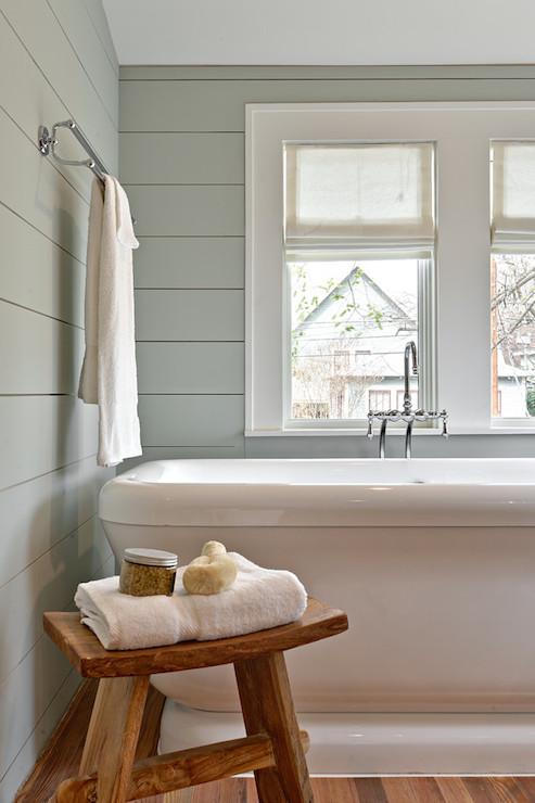 Gray Green Wall Paint Transitional Bathroom Benjamin