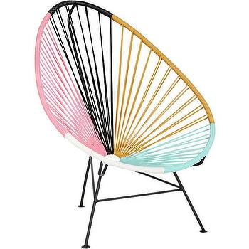 Seating - acapulco multi lounge chair | CB2 - corded chair, multi colored corded chair, pink blue and orange chair, modern corded lounge chair, colorblocked chair, colorblocked lounge chair,