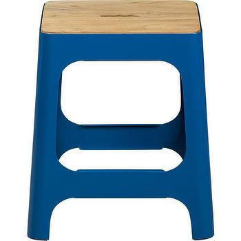 Seating - hitch peacock blue stool | CB2 - peacock blue stool, modern blue step stool, blue iron stool,