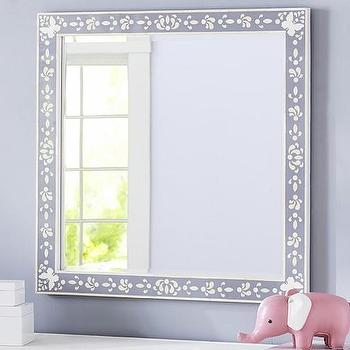 Mirrors - Inlay Mirror | Pottery Barn Kids - inlaid kids mirror, faux mother of pearl inlaid mirror, gray inlaid mirror, gray mother of pearl inlay mirror,