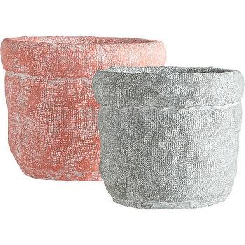 Decor/Accessories - krinkled vases | CB2 - crinkled cement vase, pink cement vase, gray cement vase,