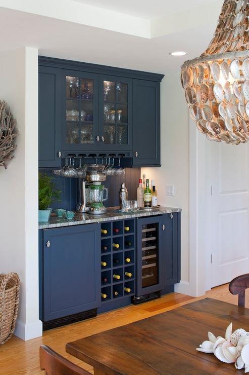 Under cabinet wine rack cottage dining room polhemus - Built in bar cabinets ...