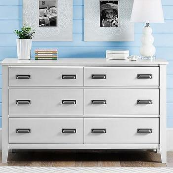 Storage Furniture - Parker Extra-Wide Dresser | Pottery Barn Kids - white dresser with cup pulls, white kids dresser, white 6 drawer dresser, white six drawer dresser,