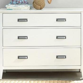 Storage Furniture - Parker Dresser | Pottery Barn Kids - white kids dresser, white three drawer dresser, white dresser with bin pulls,