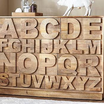 Storage Furniture - ABC Dresser | Pottery Barn Kids - alphabet front dresser, wooden alphabet dresser, carved alphabet front dresser,