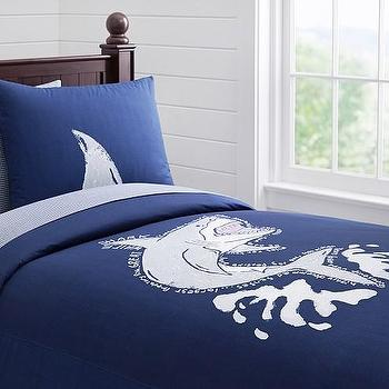 Bedding - Oversized Shark Duvet Cover | Pottery Barn Kids - shark duvet cover, navy shark print bedding, navy and white shark duvet,