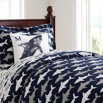 Bedding - Preppy Shark Duvet Cover | Pottery Barn Kids - navy shark bedding, shark print duvet cover, navy gray and white shark bedding,