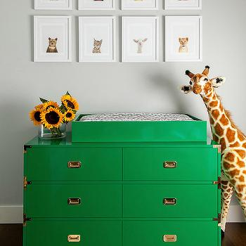 Grant K. Gibson - nurseries - gray walls, gray wall color, giraffe stuffed animal, emerald green campaign dresser, emerald green changing table, campaign dresser changing table, dresser turned changing table, glossy emerald green campaign dresser, campaign dresser, sunflowers, gray and white striped rug, gray and white rugby striped rug, rugby striped rug, striped rug, baby animal art, baby animal photography, nursery gallery wall, gallery wall over changing table, nursery wall art, green dresser, emerald green dresser, campaign dresser, green campaign dresser, campaign changing table, white and gray rug, gray striped rug, gray rugby striped rug, nursery art, nursery art ideas, art over changing table,