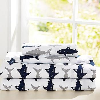 Bedding - Preppy Shark Sheet Set | Pottery Barn Kids - gray and navy shark bedding, shark print bedding, shark patterned sheets, shark kids bedding,
