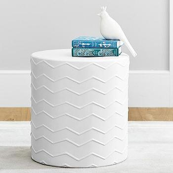 Tables - Zig Zag Side Table | Pottery Barn Kids - white zig zag side table, zig zag garden stool, contemporary white side table,
