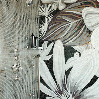 Black Mountain Development - bathrooms: mosaic tile, silver mosaic tile, mosaic shower surround, mosaic shower tile, crystal shower faucet, dual shower heads, adjustable shower head, floral mosaic tile, floral shower surround, large scale floral mosaic, oversize floral mosaic, black gray and gold floral mosaic, flower mosaic shower, floral mosaic shower, floral mosaic tiled shower, flower mosaic tiled shower, unique showers, floral mosaic tiles, floral shower tiles,