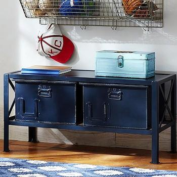 Storage Furniture - Two Bin Metal Storage | Pottery Barn Kids - industrial metal storage bins, navy blue metal storage bins, blue industrial storage, industrial storage bench,