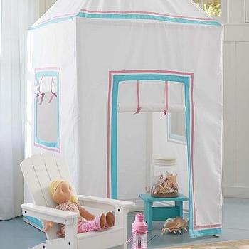 Decor/Accessories - Preppy Playhouse | Pottery Barn Kids - fabric playhouse, pink and turquoise fabric playhouse, kids playhouse, playhouse tent,