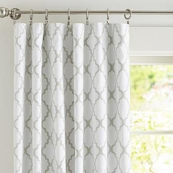 Window Treatments - Addison Flocked Blackout Panel | Pottery Barn Kids - gray and white geometric drapes, gray and white moroccan tile drapes, gray moroccan tile curtains,