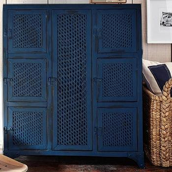 Storage Furniture - Vintage Locker Cabinet | Pottery Barn Kids - vintage dark blue locker, vintage blue locker cabinet, vintage navy blue locker, locker style storage,
