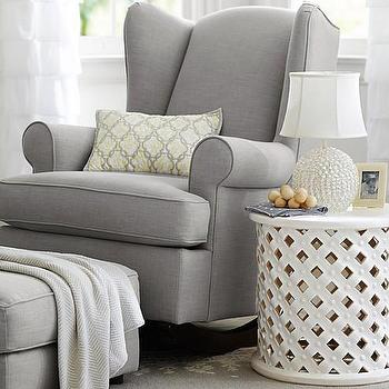 Seating - Wingback Convertible Rocker | Pottery Barn Kids - gray wing back rocker, wingback rocker, wing back nursery rocker, gray wingback rocking chair,