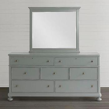 Storage Furniture - Dresser I Bassett Furniture - gray cottage style dresser, gray dresser with bun feet, gray dresser with mirror, gray seven drawer dresser, gray 7 drawer dresser,