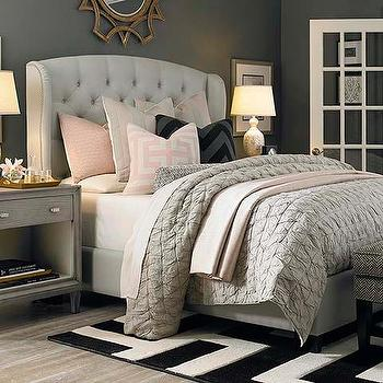Beds/Headboards - Arched Winged Bed I Bassett Furniture - linen tufted wing bed, button tufted wing bed, button tufted wingback bed, tufted wing bed with nailhead trim, nailhead trimmed wing bed,