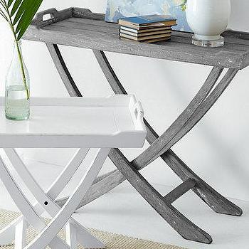 Tables - Folding Tray Table I Garnet Hill - folding table, folding white table, weathered folding table, distressed gray folding table, folding gray table,