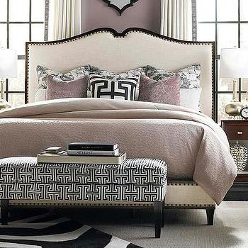 Beds/Headboards - Upholstered Bed I Bassett Furniture - upholstered bed with dark wood frame, upholstered bed with nailhead trim, wood framed upholstered bed,