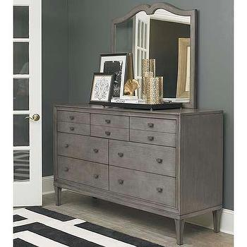 Storage Furniture - Dresser I Bassett Furniture - gray dresser, gray mid century style dresser, distressed gray dresser, gray dresser with mirror, weathered gray dresser,