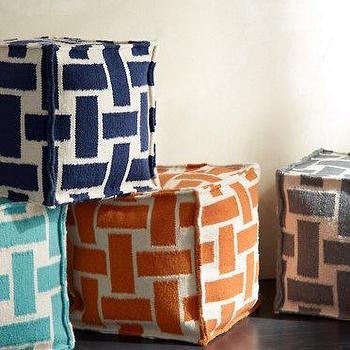 Seating - Flat-Weave Cube Ottoman I Garnet Hill - geometric orange cube ottoman, geometric navy cube ottoman, geometric gray cube ottoman, geometric turquoise cube ottoman,