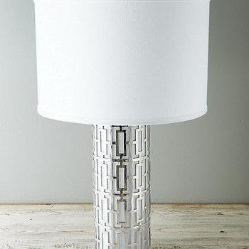 Lighting - Metal Lattice Lamp I Garnet Hill - modern metal table lamp, geometric silver table lamp, latticework metal table lamp,