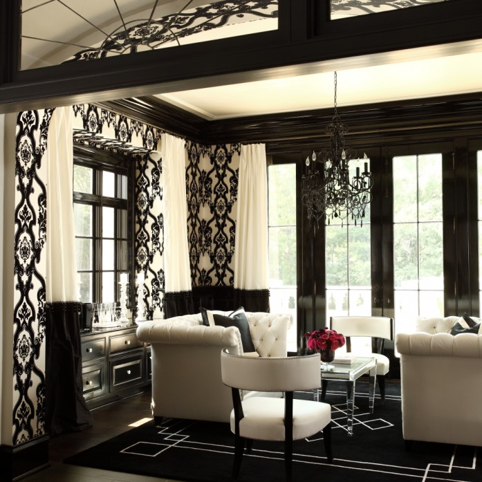 black and white curtains hollywood regency living room