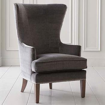 Seating - Accent Chair I Bassett Furniture - gray velvet wing chair, modern gray velvet wing chair, gray velvet accent chair with nailhead trim,