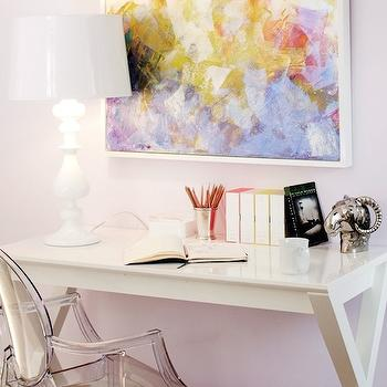 Teen Vogue - girl's rooms - girls desk, kids desk, white desk, x desk, x base desk, abstract art, art over desk, ghost chair, desk chair, lilac walls, lilac paint, lilac wall paint, lilac paint colors, Spotlight  Desk,