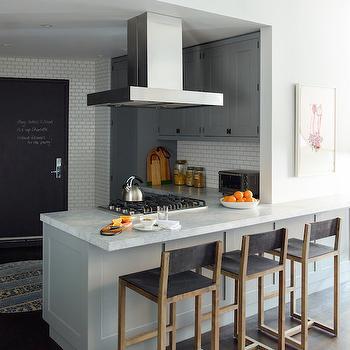 Kitchen Peninsula Hood, Contemporary, kitchen, Farrow and Ball Plummit, Damon Liss Design