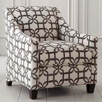 Seating - Modern Upholstered Accent Chair I Bassett Furniture - gray and white geometric chair, gray geometric swoop chair, gray latticework chair,
