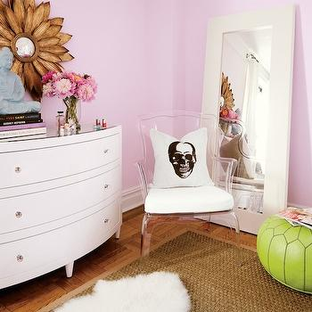 Teen Vogue - girl's rooms - lilac walls, lilac paint, lilac wall paint, lilac paint colors, white floor mirror, bow front dresser, white dresser, kids dressers, sunflower mirror, gold sunflower mirror, lucite chair, skull pillow, green pouf, green moroccan pouf, green leather pouf, green leather moroccan pouf, bound sisal rug,