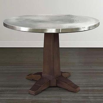 Tables - Refined Aluminum Table I Bassett Furniture - round aluminum table, round wooden table with aluminum top, aluminum topped pedestal table,