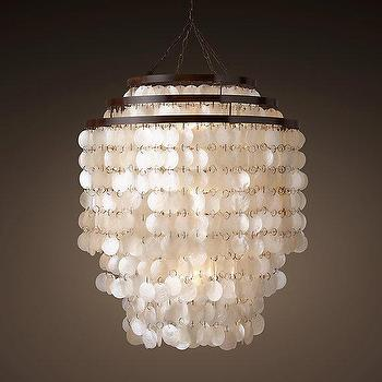 Lighting - Capiz Three-Tier Chandelier I Restoration Hardware - capiz chandelier, three tier capiz chandelier, capiz shell chandelier, round capiz chandelier,